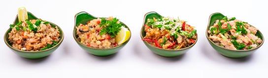 Sistema de diverso arroz frito cuatro Foto de archivo
