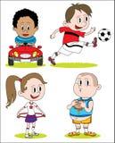 Sistema de diverso carácter del dibujo de los niños Fotografía de archivo