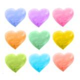 Sistema de diverso color de los corazones Imagen de archivo