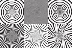 Sistema de diverso espiral psicodélico, vórtice, giro Colección monocromática de los fondos del vector Foto de archivo