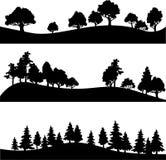 Sistema de diverso paisaje con los árboles libre illustration