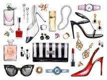 Sistema de diversos accesorios de la hembra de la acuarela Productos de maquillaje Fotografía de archivo