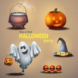 Sistema de diversos artículos para el día de fiesta Halloween, así como un fantasma lindo Fotografía de archivo libre de regalías