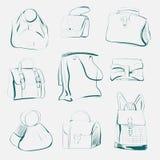 Sistema de diversos bolsos, bosquejo, vector Imagen de archivo