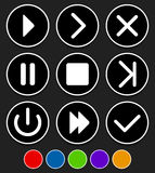 Sistema de diversos botones - juegue, siguiente, remiten, fastforward, exi Imagen de archivo libre de regalías