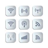 Sistema de diversos botones negros de la radio y del wifi del vector Imagenes de archivo