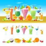 Sistema de diversos cócteles en una tabla con las frutas Bandera colorida del vector de los cócteles del verano Alcohólico y sin  ilustración del vector