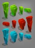 Sistema de diversos cristales de la historieta de los recursos del juego ilustración del vector
