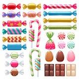 Sistema de diversos dulces Caramelos clasificados Imagen de archivo