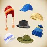 Sistema de diversos estilos de sombreros Imágenes de archivo libres de regalías