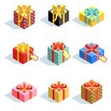Sistema de diversos giftboxes coloreados 3D con las cintas Ejemplo plano del vector ilustración del vector