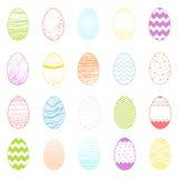 Sistema de diversos huevos coloridos de pascua Imagen de archivo