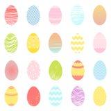 Sistema de diversos huevos coloridos de pascua Foto de archivo libre de regalías
