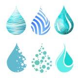 Sistema de diversos iconos brillantes azules del descenso del agua Imágenes de archivo libres de regalías
