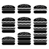 Sistema de diversos iconos de la hamburguesa Imagen de archivo