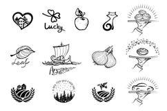 Sistema de diversos iconos del logotipo en un fondo borroso Fotografía de archivo libre de regalías