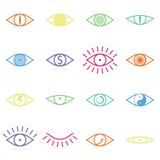 Sistema de diversos iconos del ojo del color en el fondo blanco Fotos de archivo