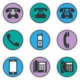 Sistema de diversos iconos del teléfono Imagenes de archivo