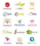 Sistema de diversos iconos y Logo Designs - colores y elementos múltiples stock de ilustración