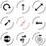 Sistema de diversos indicadores de flechas Foto de archivo