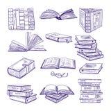 Sistema de diversos libros Bosquejo dibujado mano del vector Aislante de los ejemplos del garabato en blanco stock de ilustración