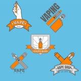 Sistema de diversos logotipos vaping coloreados en fondo azul Fotografía de archivo