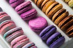 Sistema de diversos macarrones franceses de las galletas en una caja blanca primer Café, chocolate, vainilla, limón, frambuesa Imagen de archivo