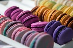 Sistema de diversos macarrones franceses de las galletas en una caja blanca primer Café, chocolate, vainilla, limón, frambuesa Imágenes de archivo libres de regalías