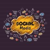 Sistema de diversos medios iconos sociales Imagen de archivo libre de regalías