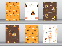 Sistema de diversos modelos inconsútiles de Halloween, textura, papel pintado, fondo, lindo, ejemplos del vector stock de ilustración