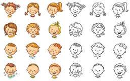 Sistema de diversos niños con diversas emociones ilustración del vector