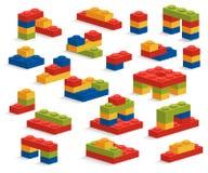 Sistema de diversos pedazos o constructor plásticos Foto de archivo libre de regalías