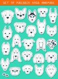 Sistema de 24 diversos perros de las razas de las etiquetas engomadas, hecho a mano Perro principal Imágenes de archivo libres de regalías