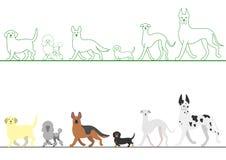 Sistema de diversos perros que caminan en línea Imágenes de archivo libres de regalías