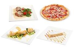 Sistema de 4 diversos platos aislados en el fondo blanco Fotografía de archivo libre de regalías