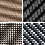 Sistema de diversos tipos de texturas de la fibra de carbono Fotos de archivo libres de regalías