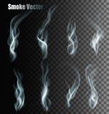 Sistema de diversos vectores transparentes del humo stock de ilustración