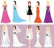 Sistema de diversos vestidos de las mujeres de los estilos Imágenes de archivo libres de regalías