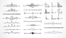 Sistema de divisores decorativos del bosquejo del garabato stock de ilustración