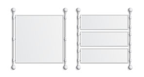 Sistema de dos banderas blancas en blanco Fotos de archivo