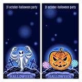 Sistema de dos banderas de Halloween Vector Imágenes de archivo libres de regalías