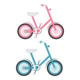 Sistema de dos bicicletas de los niños en un fondo blanco Ilustración del vector stock de ilustración