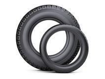 Sistema de dos neumáticos Nuevas ruedas de coche para los coches y los camiones - vista delantera stock de ilustración