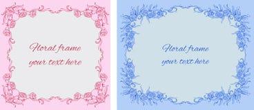 Sistema de dos tarjetas con los marcos del floral-estilo Fotografía de archivo libre de regalías