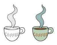 Sistema de dos tazas de café del garabato del vector, esquema y Foto de archivo libre de regalías