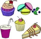 Sistema de dulces coloridos en un fondo blanco Imagen de archivo libre de regalías
