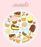 Sistema de dulces con las tortas, las magdalenas, las piruletas, el helado, los corazones y las flores Imagen de archivo libre de regalías