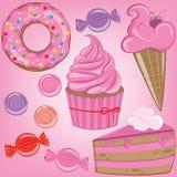 Sistema de dulces en color rosado Fotografía de archivo libre de regalías
