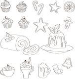 Sistema de dulces, de tortas y de bebidas dibujados mano de la Navidad stock de ilustración