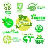Sistema de ecología - iconos verdes Foto de archivo